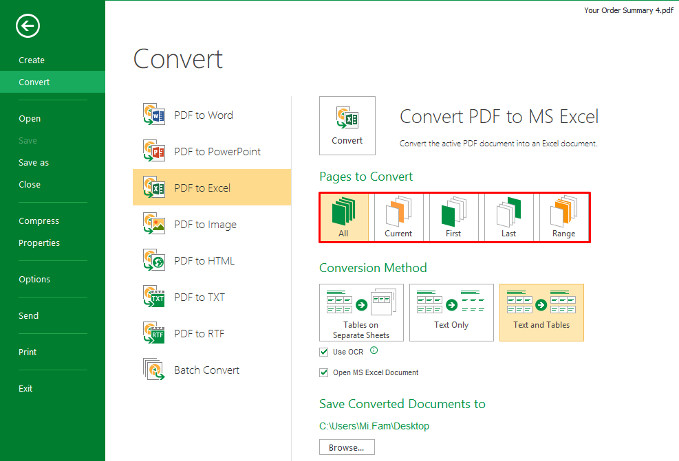 How do I Convert from PDF to Excel – PDFsam Enhanced